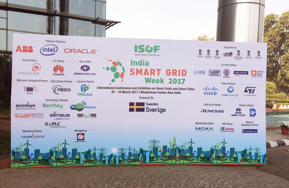 Big sign for India Smart Grid Week 2017. Photo.