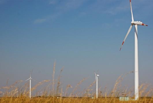 Three windmills in a field