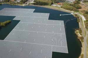 Solar panels floating on a lake. Photo.