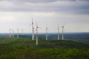 Windmills on green hills. Photo.