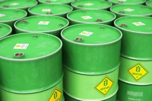 Green barrels. Photo.