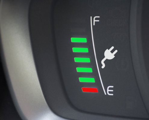 Charging meter in an electric vehicle. Photo.