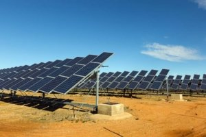 Solar panels in desert. Photo.