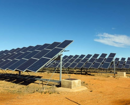 Solar panels in desert. Photo.
