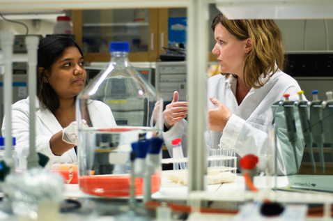 Two women in white coats in a lab. Photo.