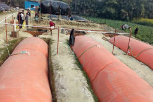 Biogas installation in a rural area. Photo.