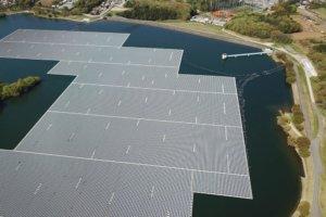 Solar panels floating on a lake. Photo.