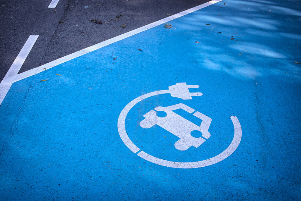 Charging space for electric vehicles. Photo.