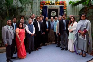 About twenty Indian and Swedish people at the inauguration. Photo.