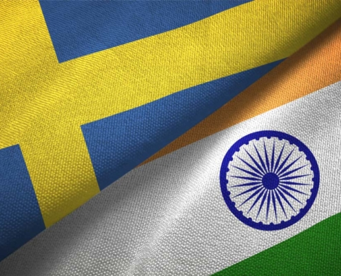 Swedish and Indian flags. Photo.